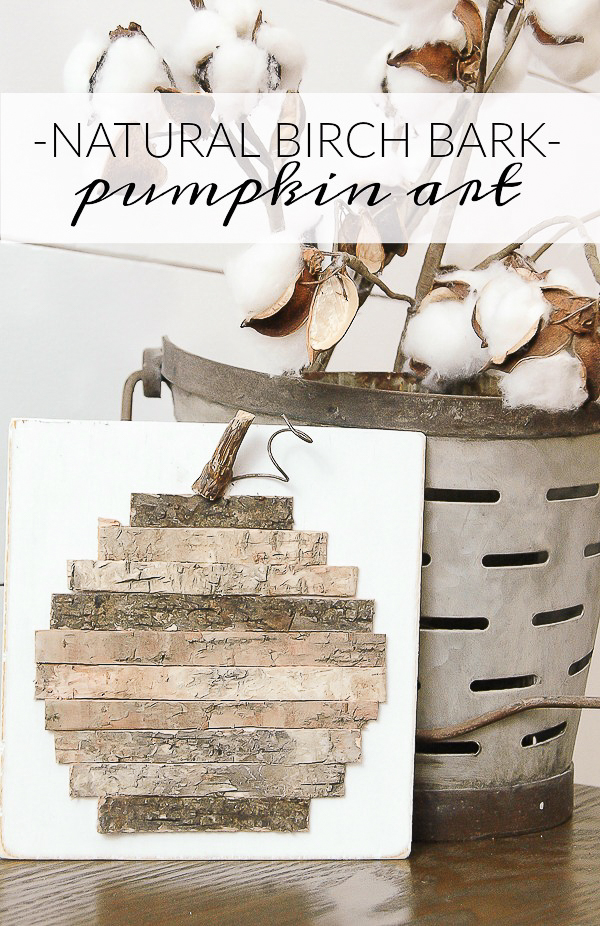 Turn scraps of natural birch bark into the perfect fall pumpkin! www.littlehouseoffour.com