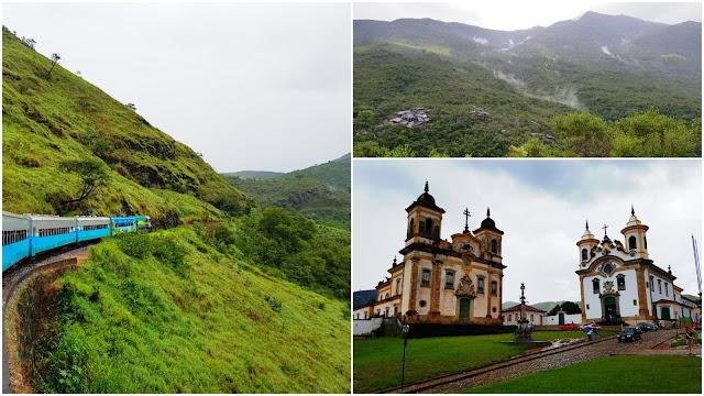 """O trem da Vale, o caminho e as """"Igrejas Gêmeas"""" de Mariana - Minas Gerais"""