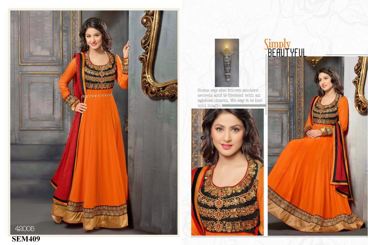 4c8d01168f8c Hina Khan Embroidery Floor Length Anarkali Suit