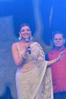 Kajal Aggarwal In Beautiful Designer Saree at Khiladi 150 Meet (9).jpg