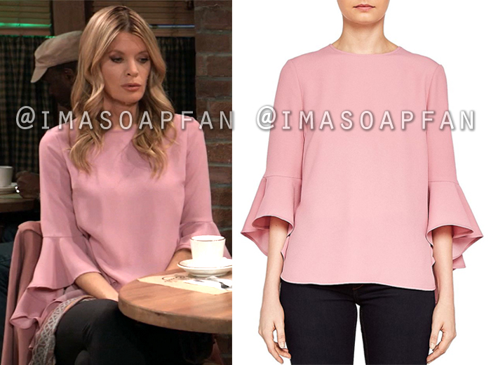 Nina Reeves, Michelle Stafford, Pink Top with Waterfall Sleeves, General Hospital, GH