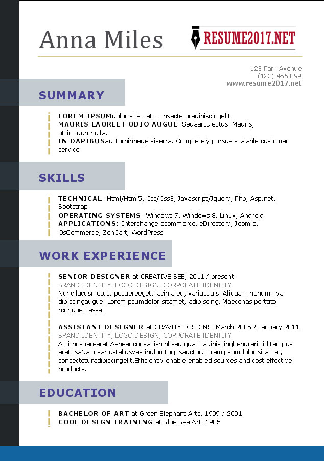 free resume template designs 2017