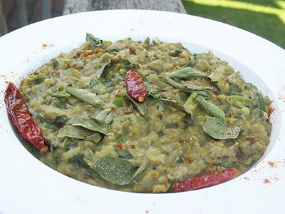 mung beans with mustard greens