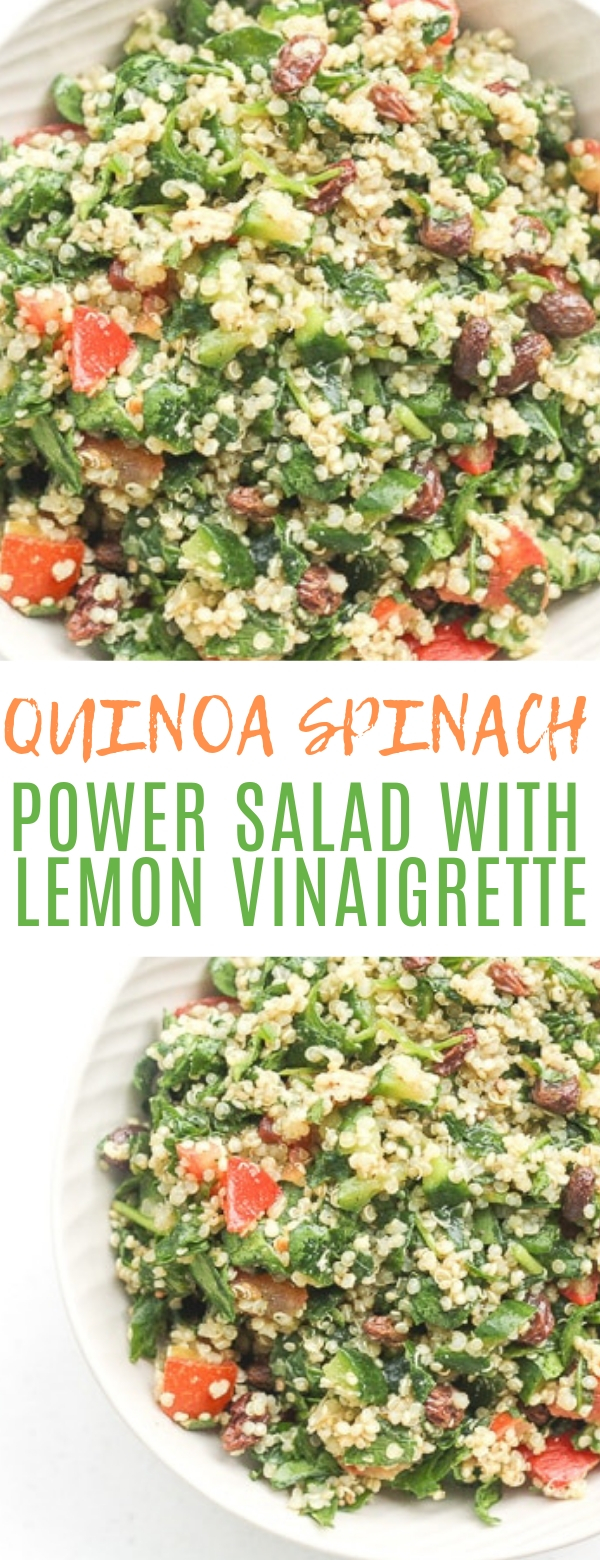 QUINOA SPINACH POWER SALAD WITH LEMON VINAIGRETTE #salad #healthy
