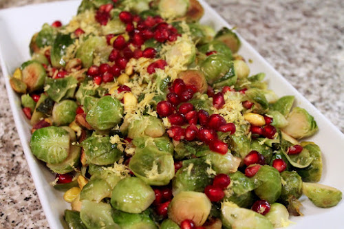 California-style brussels sprouts with pistachio and pomegranate