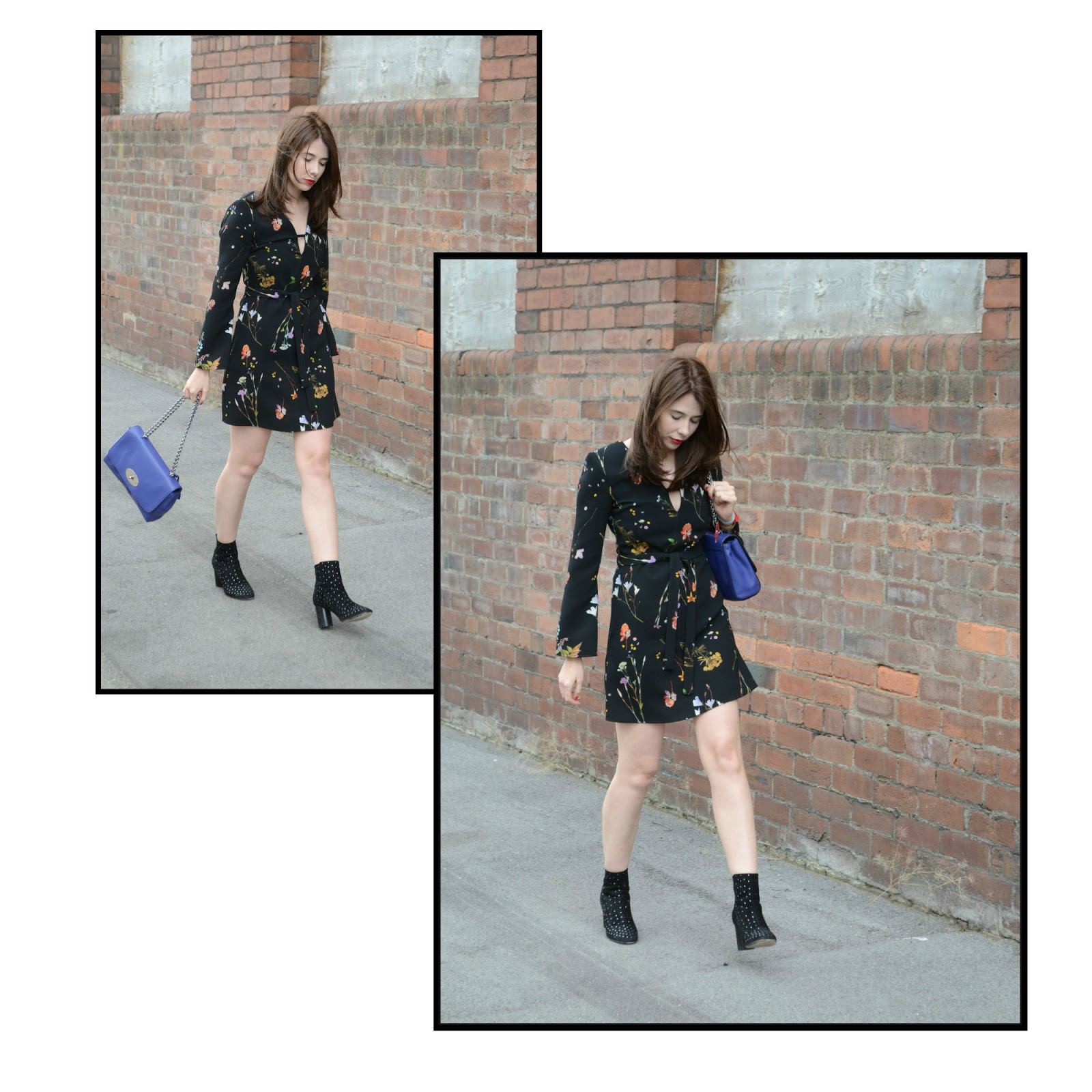 GUCCI, Mulberry Lily Bag, Floral Topshop dress, Asos ankle studded boots.