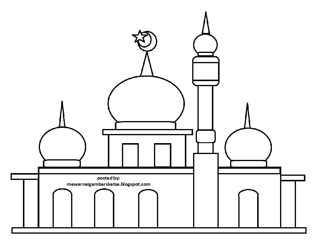 Contoh Mewarnai Gambar Masjid