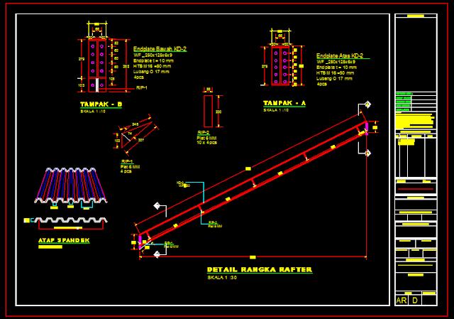 Gambar Kerja Detail Atap Spandek/Rafter Dwg