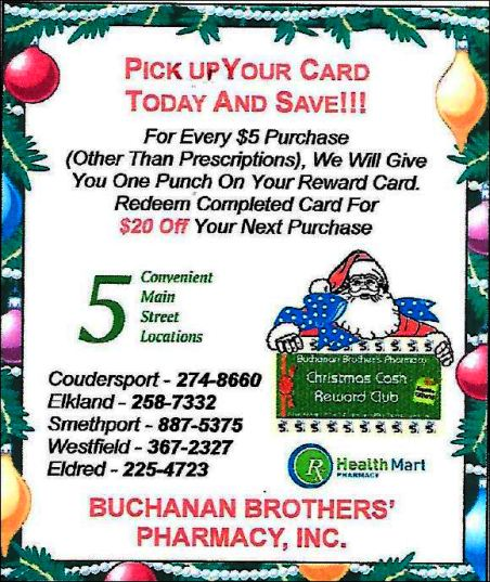 Pick UP Reward Card At Buchanan Pharmacy