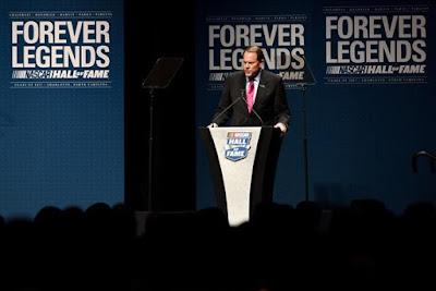 Winston Kelley, Executive Director of the NASCAR Hall of Fame, speaks prior to the NASCAR Hall of Fame Class of 2017 Induction Ceremony at NASCAR Hall of Fame on January 20, 2017 in Charlotte, North Carolina.