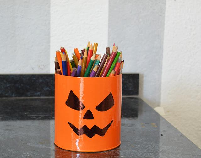 Pumpkin Halloween DIY Pencil Holder