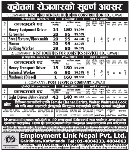 Jobs in Kuwait for Nepali, Salary Rs 55,690