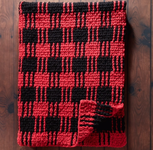 Crochet Plaid Blanket - Free Pattern
