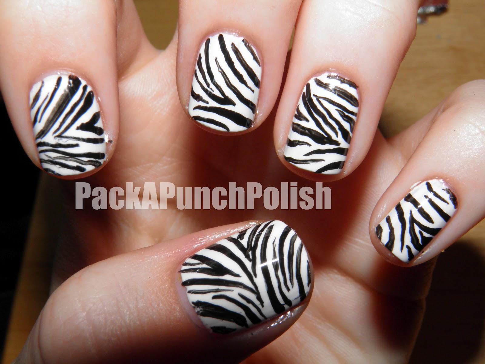 Packapunchpolish How To Zebra Print Nail Art Nail Art Design