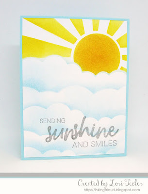 Stenciled Sunshine and Smiles card-designed by Lori Tecler/Inking Aloud-stamps and stencil from Honey Bee Stamps