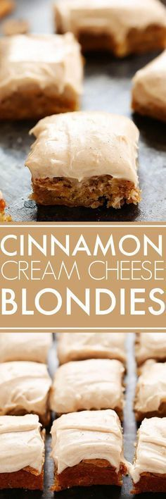 Blondies With Cinnamon Cream Cheese Frosting