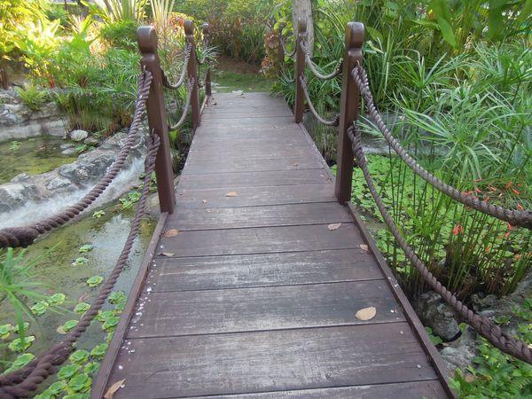 A small bridge at Shangri-La's Mactan Resort and Spa's garden