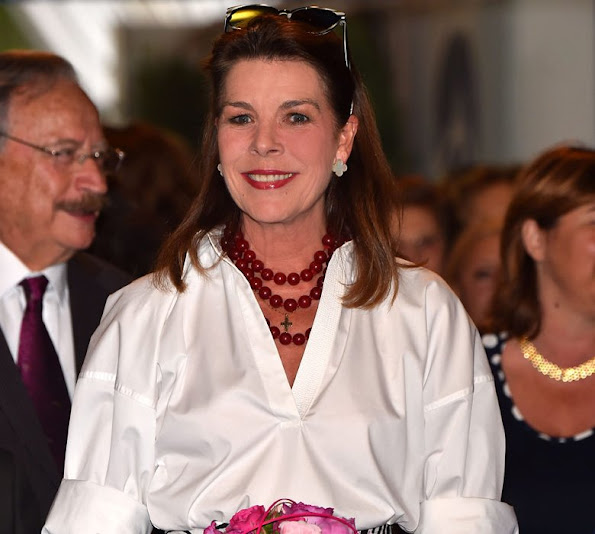 Princess Caroline of Hanover visited the 49th International Floral competition (Concours de Bouquets), held at the Fontvieille Garden Park
