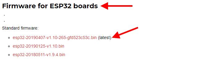 Versões de firmware MicroPython para ESP32
