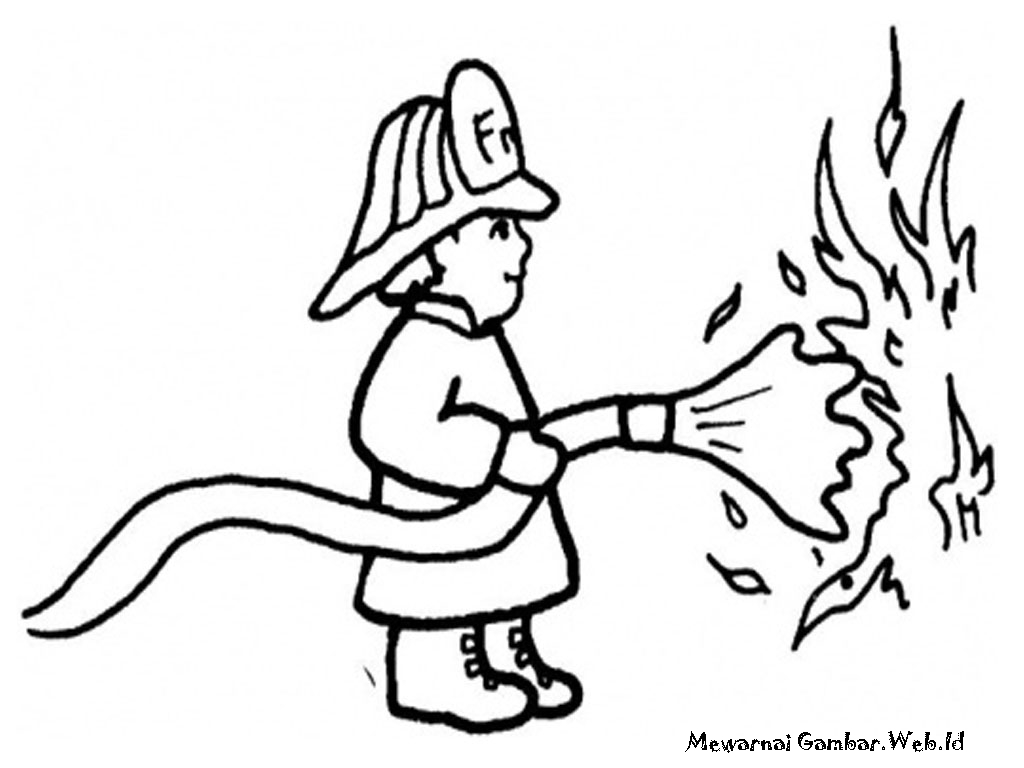 Mewarnai Gambar Mobil Kebakaran