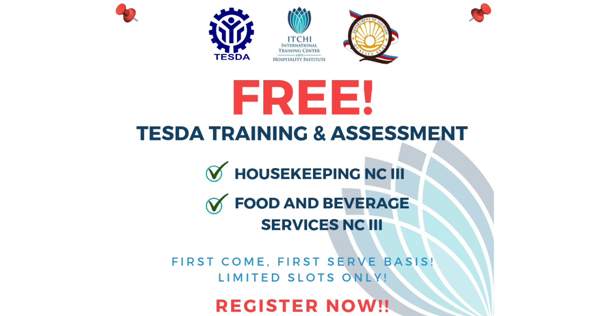 Housekeeping & Food and Beverage NC II TESDA's TSWP | Register now!