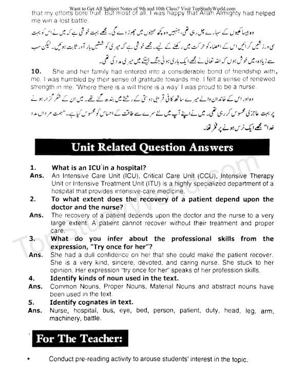 Unit 9 - All Is Not Lost Notes in PDF [9th Class]   Top