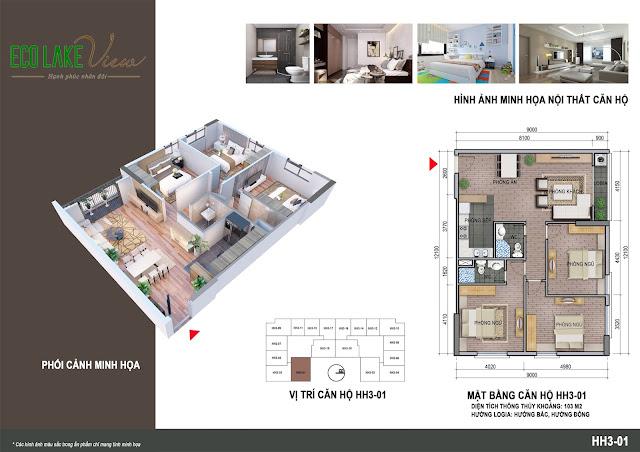 Thiết kế căn hộ 01 tòa HH03 Eco Lake View
