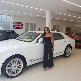 Photos and Video;Linda Ikeji buys self 120 Million Naira Bentley as push present