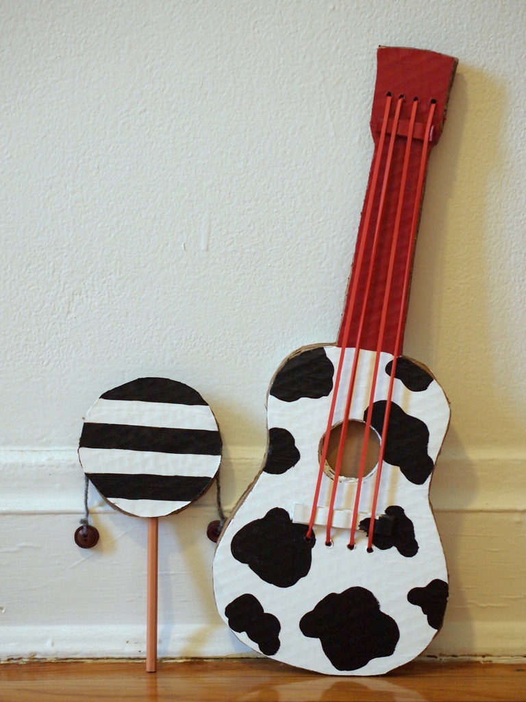 Make A Cardboard Guitar Pink Stripey Socks