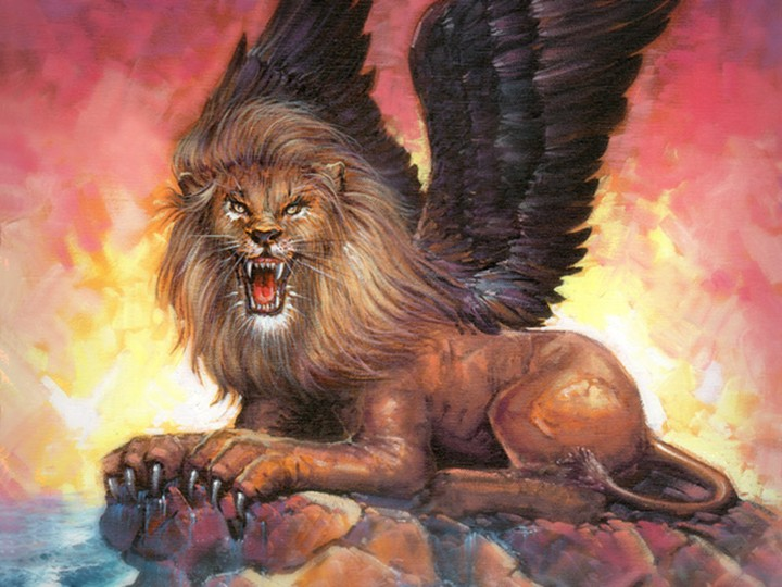This beast represents Babylon. Archaeologists have found many statues of winged lions in ancient Babylon.