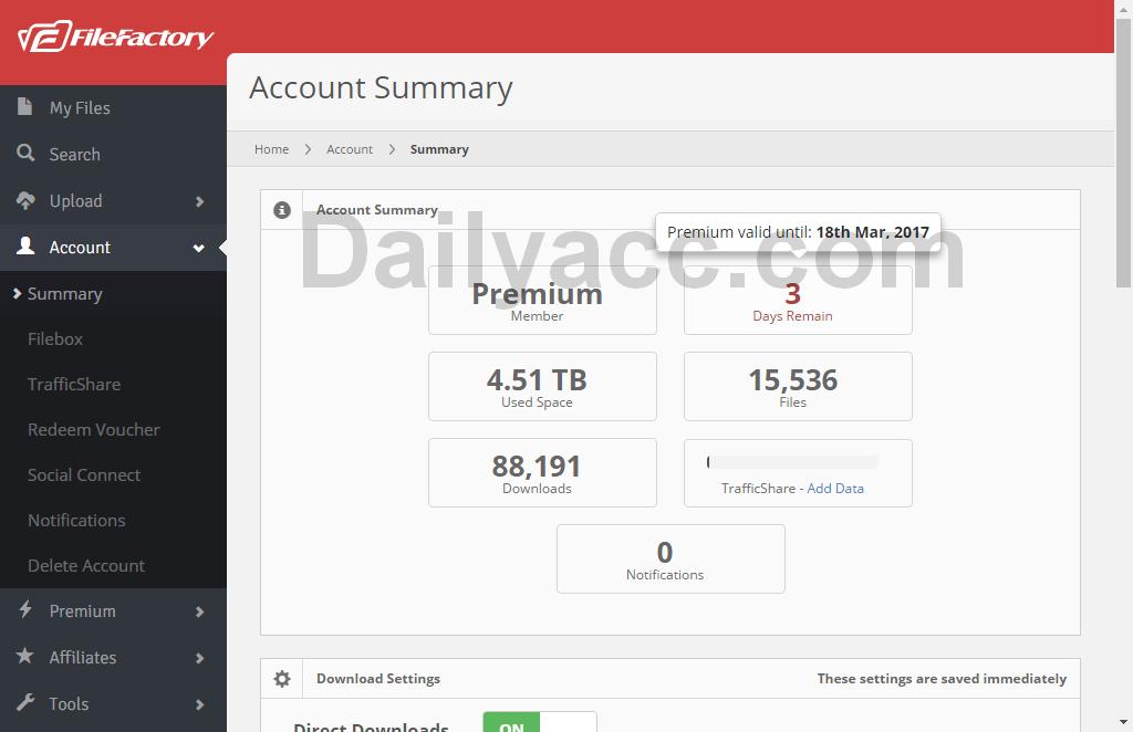 Filefactory.com Premium Account March 17, 2017 Until March 18, 2017