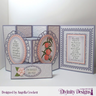 Divinity Designs Stamp Set:Peach Branch, Custom Dies: Half-Shutter Card with Layers, Belly Band, Bitty Blossoms, Layered Lacey Ovals, Ovals, Embossing Folder: Flourishes