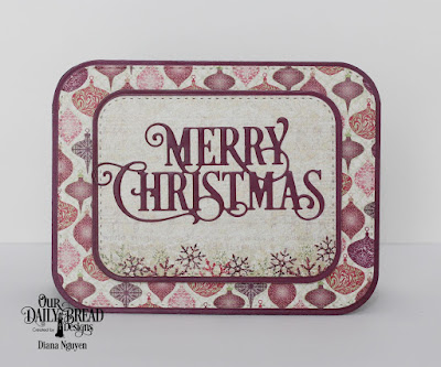 Our Daily Bread Designs Custom Dies: Merry Christmas Caps, Double Stitched Rounded Rectangles, Rounded Rectangles, Paper Collections: Christmas 2015, Christmas Coordinating 2015