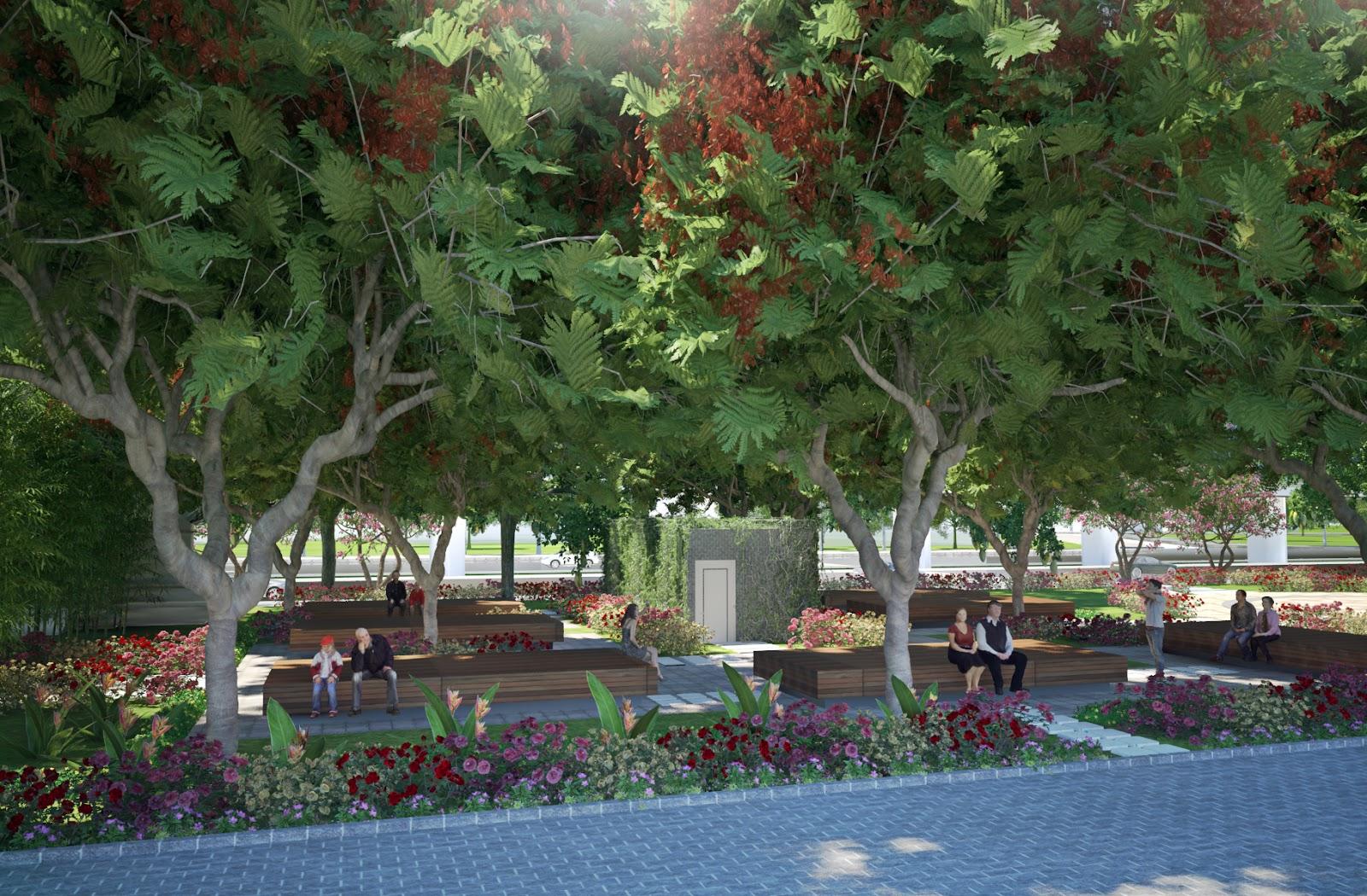 Cảnh quan xanh mát hiếm có tại chung cư Athena Đại Kim