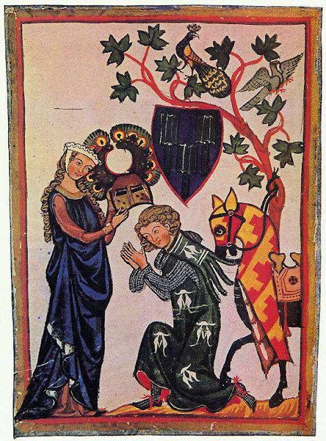 Senhores feudais: pequenos reis com poder desdobrado do monarca.  Iluminura de: Manessische Liederhandschrift, Der Schenke von Limburg