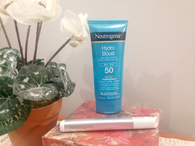Neutrogena Light Therapy Acne Spot Treatment, um tratamento LED contra acne, e o Hydro Boost Water Gel FPS 50, um protetor solar à base de água.