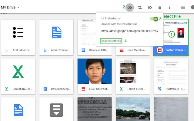 Cara share link file google drive - langkah 2