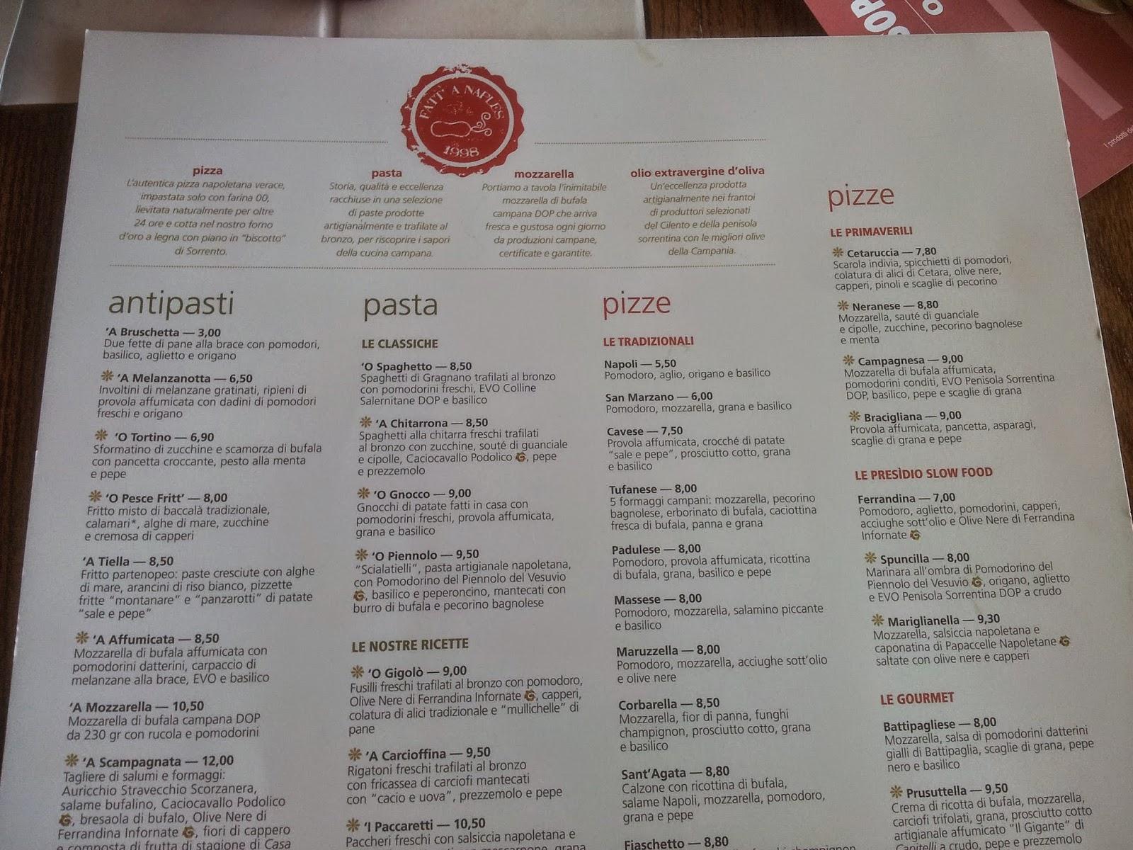 Menu e prezzi pizzerie rossopomodoro for Il rosso bologna menu