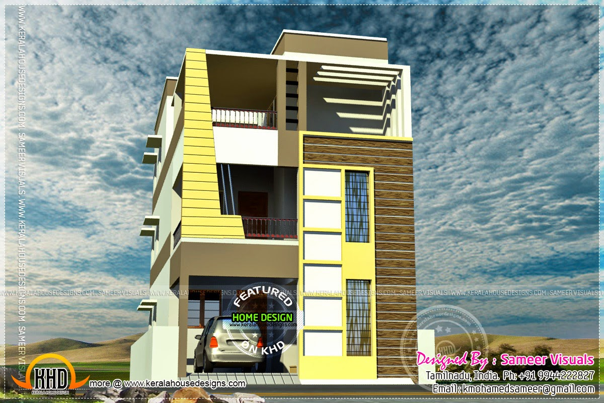 Two flat roof tamilnadu style house designs home kerala for Home models in tamilnadu pictures