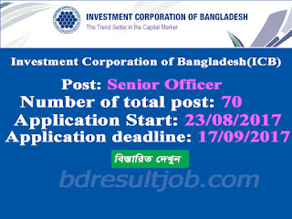 Investment Corporation of Bangladesh(ICB) Senior Officer Job Circular 2017