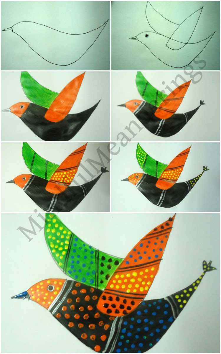 Exploring india folk and tribal art gond painting step by for Arts and craft paint