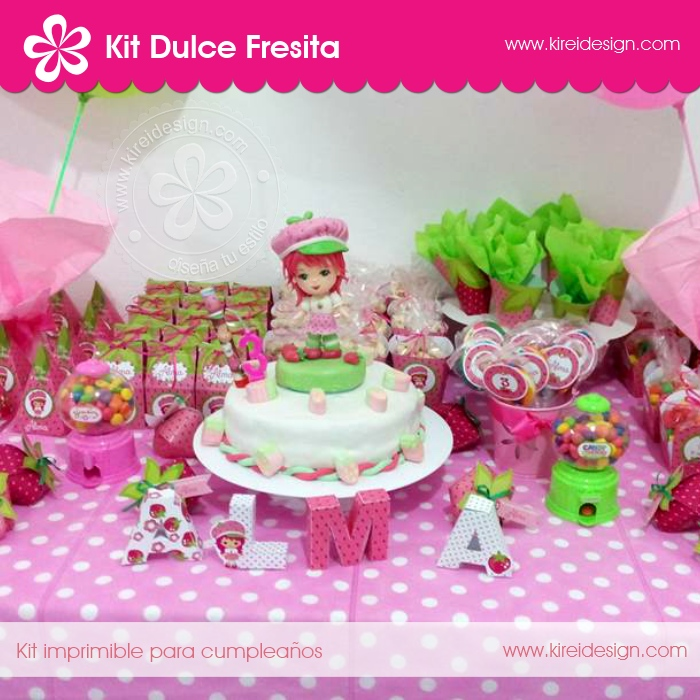 Kit imprimible dulce fresita by Kireidesign