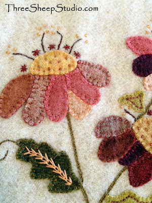 Jacobean Wool Applique by Rose Clay