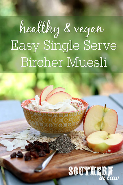 Easy Single Serve Vegan Bircher Muesli Recipe - clean eating recipe, healthy, gluten free, meal prep breakfast recipes