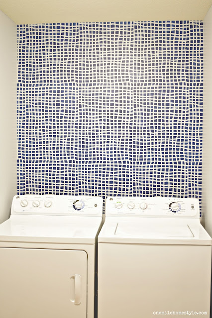 Laundry Room Makeover with Cutting Edge Stencils Mesh Allover Stencil in Navy and Grey- One Mile Home Style