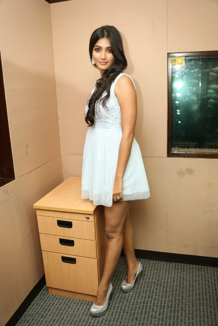 Pooja Hegde Hot Legs Show Photos In Short White Dress