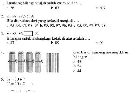 Soal Matematika Kelas 1 SD UKK Semester 2 KTSP (File Download)
