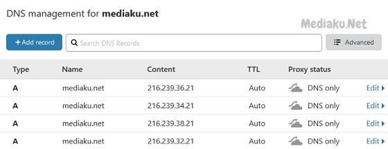 Menggunakan DNS Gratis CloudFlare
