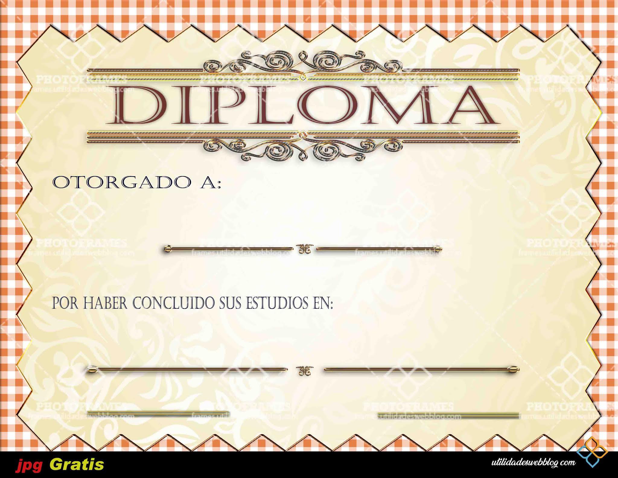 Bonita plantilla de diploma para fin de curso lista para imprimir