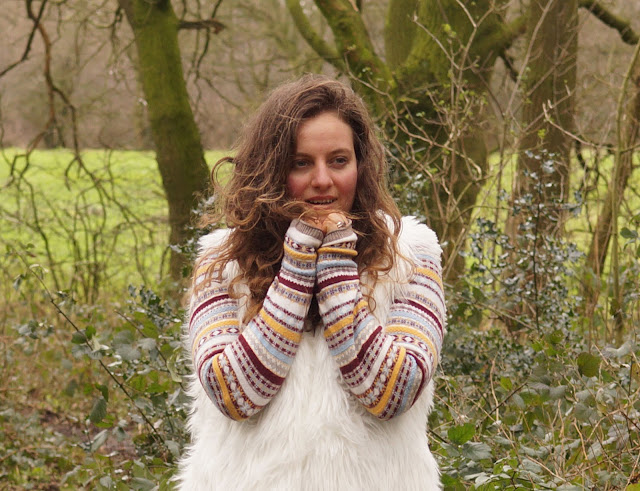 Faux fur and stripes in winter